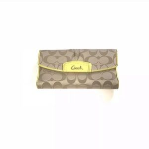 Coach Bags - Coach Trifold Wallet with Checkbook Holder Beige